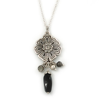 Vintage Inspired Flower And Charms Pendant With Silver Tone Chain - 38cm Length/ 8cm Extension