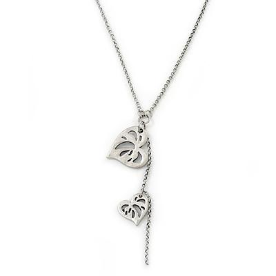 Double Heart Pendant With 38cm L/ 7cm Ext Silver Tone Chain