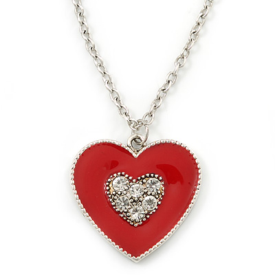 Red Enamel, Crystal 'Heart' Pendant With Silver Tone Chain - 40cm Length/ 7cm Extension