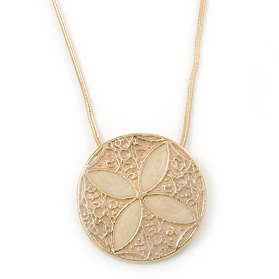 Cream, Magnolia Enamel Medallion Pendant With Gold Tone Snake Pendant - 36cm Length/ 6cm Extension