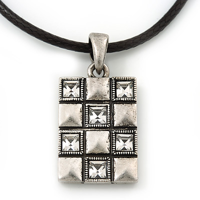 Burn Silver Crystal Square Pendant With Black Leather Style Cord - 38cm Length - main view