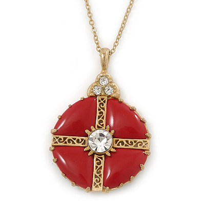 Red Enamel Medallion Pendant With Gold Tone Chain - 40cm L/ 6cm Ext