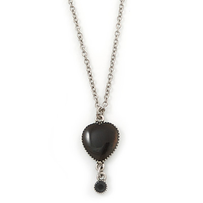Vintage Inspired Small Black Enamel Heart Pendant With Long Silver Tone Chain - 68cm L/ 8cm Ext