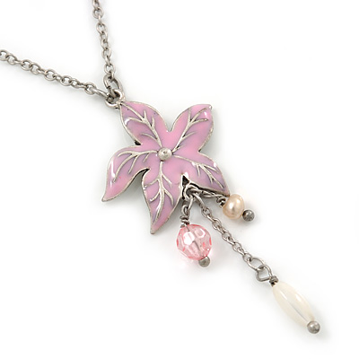 Pink Enamel 'Flower' With Beaded Tassel Pendant On Silver Tone Chain - 36cm Length/ 8cm Extension