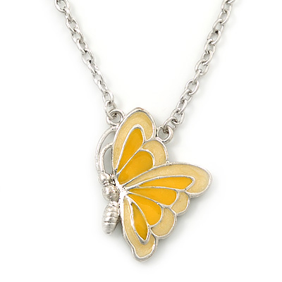 Yellow Enamel Butterfly Pendant With Silver Tone Chain - 38cm Length/ 7cm Extension