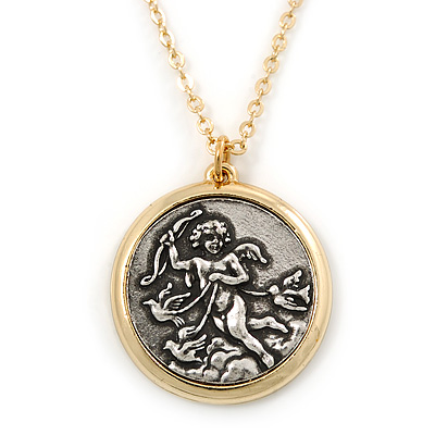 Two Tone 'Angel' Medallion Pendant With Gold Tone Chain - 40cm L/ 5cm Ext - main view