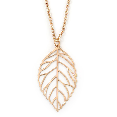 Filigree Leaf Pendant With Long Gold Tone Chain - 58cm L