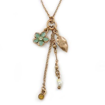Vintage Inspired Flower, Leaf, Freshwater Pearl Charms Necklace In Antique Gold Metal - 38cm Length/ 8cm Extension