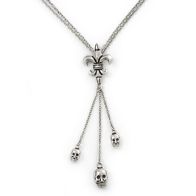 Silver Tone Skull Tassel Double Chain Necklace - 38cm L/ 5cm Ext/ 9cm Tassel