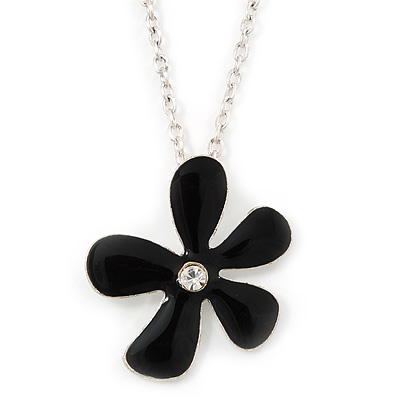 Black Enamel Flower Pendant With Silver Tone Oval Link Chain - 40cm Length/ 7cm Extension