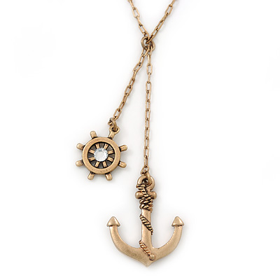 Vintage Inspired 'Anchor & Steer Wheel' Pendant With Burn Gold Chain Necklace - 36cm Length/ 8cm Extension