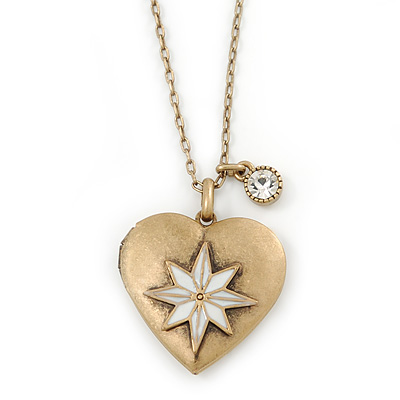 Antique Gold Heart Locket Pendant With Long Chain - 68cm L/ 8cm Ext