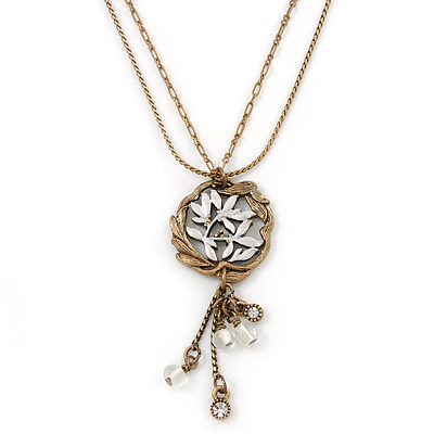 Vintage Inspired Floral Pendant With Beaded Dangles, With 38cm L/ 6cm Ext Double Chain In Antique Gold Tone