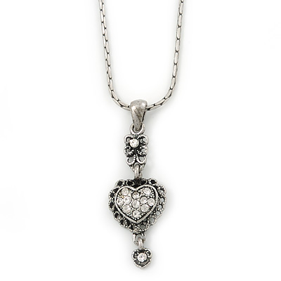 Small Crystal Heart Pendant With Pewter Tone Chain - 40cm L - main view