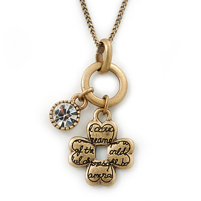 Vintage Inspired Small Inscripted Clover & Crystal Bead Pendant With Gold Tone Chain - 36cm Length/ 7cm Extension