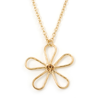 Open Hammered Daisy Flower Pendant With Gold Plated Chain - 38cm Length/ 8cm Extension