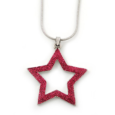 Glittering Fuchsia Open Star Pendant With Silver Tone Snake Chain - 36cm Length/ 8cm Extension