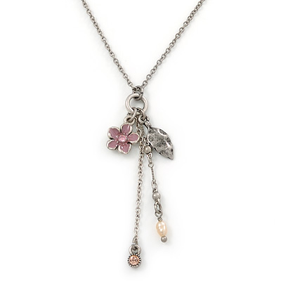 Vintage Inspired Pink Flower, Leaf, Freshwater Pearl Charms Necklace In Antique Silver Metal - 38cm Length/ 8cm Extension