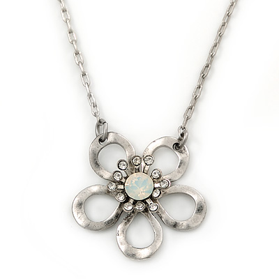 Open Crystal Flower Pendant With Silver Tone Chain - 36cm L/ 7cm Ext