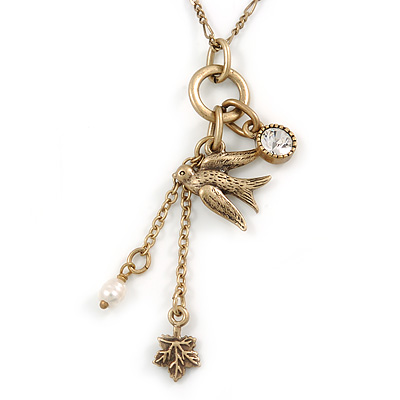 Vintage Inspired Swallow Pendant with Antique Gold Tone Chain - 40cm L/ 8cm Ext