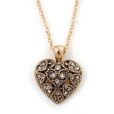 Small Burn Gold Marcasite Crystal 'Heart' Pendant With Gold Tone Chain - 40cm Length/ 5cm Extension - main view