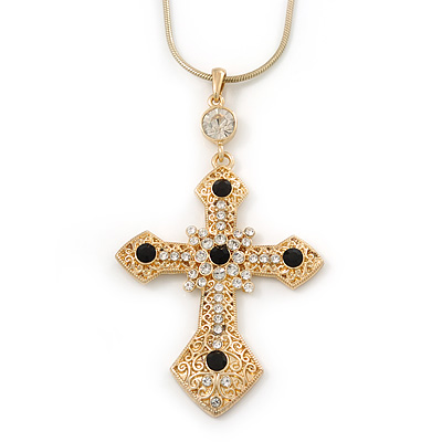 Victorian Style Filigree, Swarovski Crystal Elements Statement Cross Pendant With Gold Tone Snake Chain - 38cm Length/ 7cm Extension