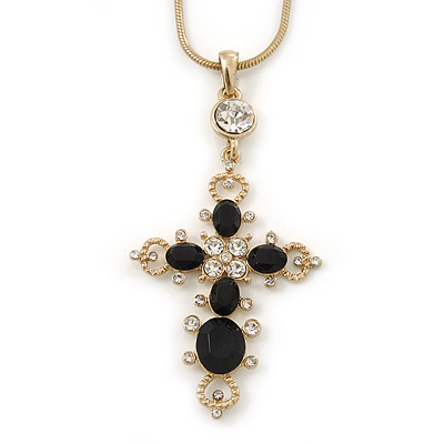 Victorian Style Diamante Statement Cross Pendant With Gold Tone Snake Chain - 38cm Length/ 7cm Extension