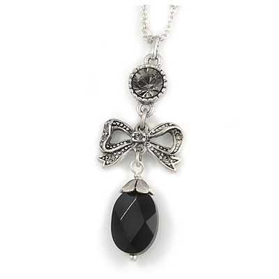 Delicate Beaded Bow Pendant with Silver Tone Chain In Pewter Tone - 37cm L/ 8cm Ext - main view