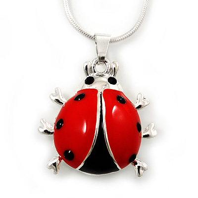 Black, Red Enamel Ladybug Pendant With Silver Tone Snake Chain - 40cm Length/ 4cm Extension