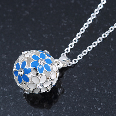 Blue, White Enamel, Crystal Flower Ball Pendant With Silver Tone Chain - 40cm Length/ 5cm Extension