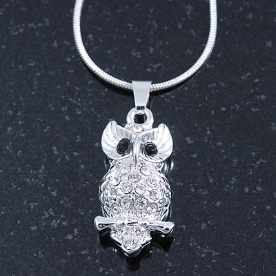 Clear Crystal Owl Pendant With Silver Tone Snake Chain - 40cm Length/ 4cm Extension - main view