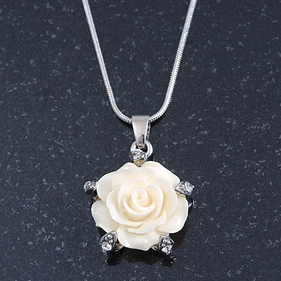 Cream Acrylic Rose Pendant With Silver Tone Snake Chain - 40cm Length/ 5cm Extension