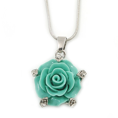 Mint Green Acrylic Rose Pendant With Silver Tone Snake Chain - 40cm Length/ 5cm Extension