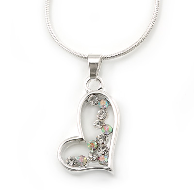 Open Heart Crystal Pendant With Silver Tone Snake Chain - 40cm Length/ 4cm Extension - main view