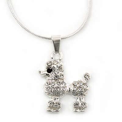 Small Crystal Poodle Pendant With Silver Tone Snake Chain - 40cm Length/ 4cm Extension