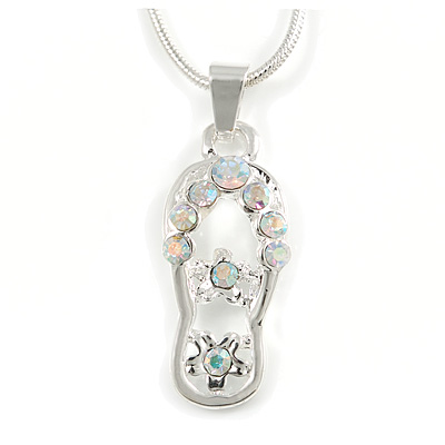 Small AB Crystal Slipper Pendant With Silver Tone Snake Chain - 40cm Length/ 4cm Extension