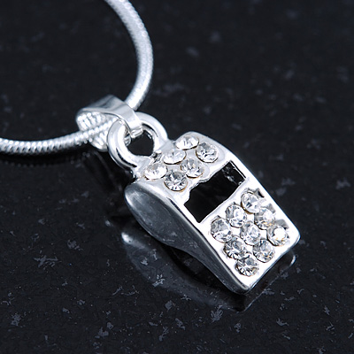 Small Crystal Blow Whistle Pendant With Silver Tone Snake Chain - 40cm Length/ 4cm Extension