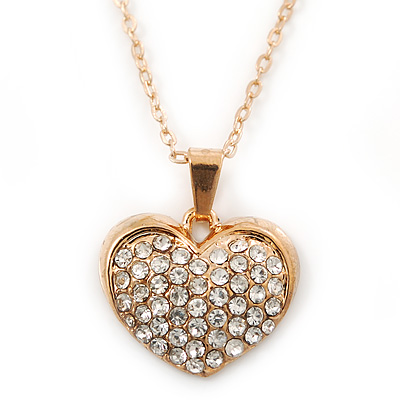 Pave Set Crystal Heart Pendant With Gold Tone Chain - 40cm Length - main view