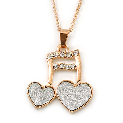 Crystal, Glittering Musical Note/ Double Heart Pendant With Gold Tone Chain - 42cm Length