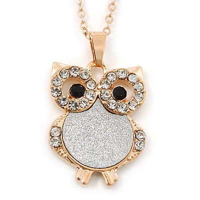 Crystal, Glittering Owl Pendant With Gold Tone Chain - 42cm Length - main view