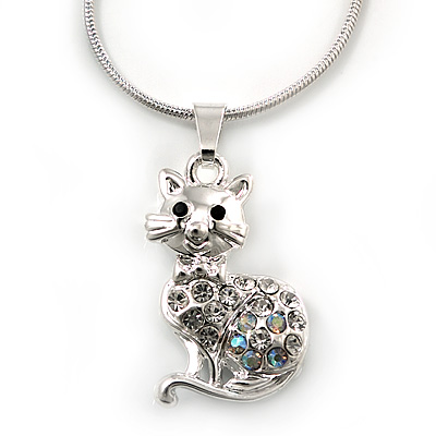 Crystal Kitty Pendant With Silver Tone Snake Chain - 40cm Length/ 4cm Extension