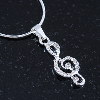 Small Crystal Treble Clef Pendant With Silver Tone Snake Chain - 40cm Length/ 4cm Extension