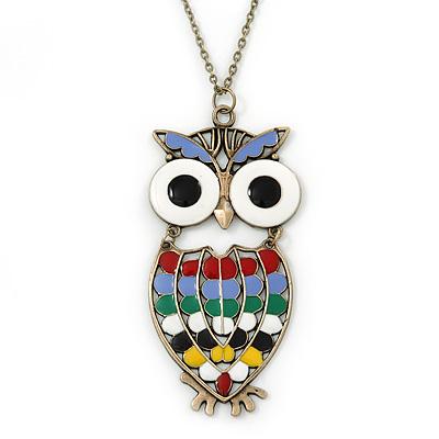 Oversized Multicoloured Enamel Owl Pendant With Long Bronze Tone Chain - 80cm Length - main view