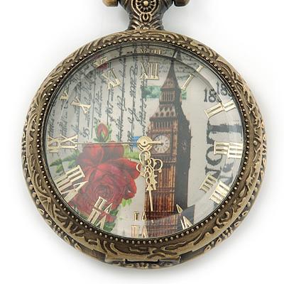 Antique Bronze Tone Big Ben & Roses Motif Quartz Pocket Watch Pendant Necklace - 45mm D/ 80cm L - main view
