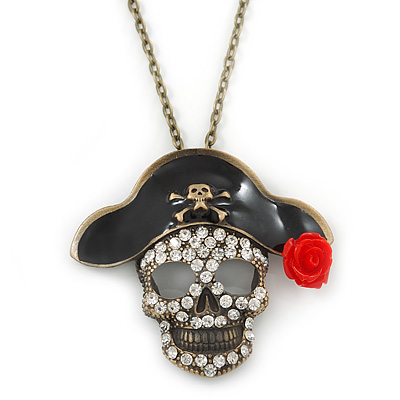 Crystal Skull In The Pirate Hat Pendant With Long Bronze Tone Chain - 80cm Length