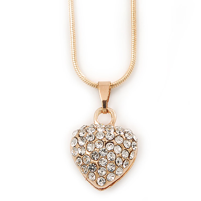 Gold Tone Crystal Heart Pendant With Snake Chain - 38cm Length/ 6cm Extension