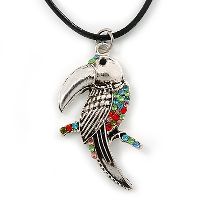 Multi Crystal Parrot Pendant With Black Leather Cord In Burnt Silver Tone - 40cm L/ 4cm Ext