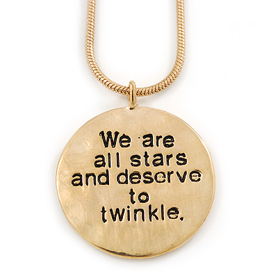 'We are all stars and we deserve to twinkle' inscription by Marilyn Monroe Gold Tone Hammered Double Sided Medallion Pendant and Chain - 40cm L/