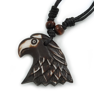 Unisex Acrylic Eagle Pendant With Black Waxed Cotton Cord - Adjustable