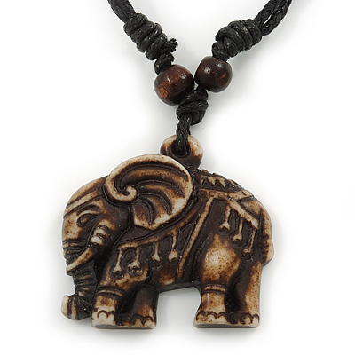 Unisex Acrylic Elephant Pendant With Black Waxed Cotton Cord - Adjustable - main view